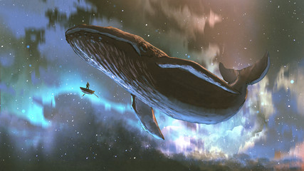 outer space journey concept showing a man looking at the giant whale flying in the beautiful sky, digital art style, illustration painting