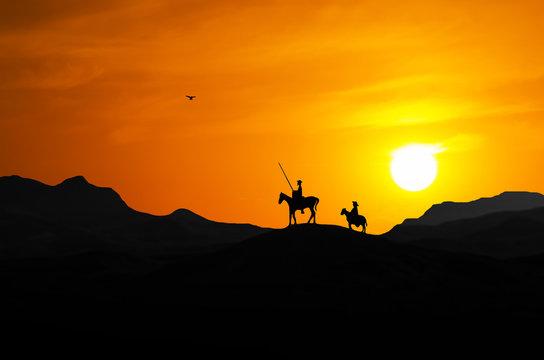 Illustration of Don Quixote and Sancho Panza (N2)
