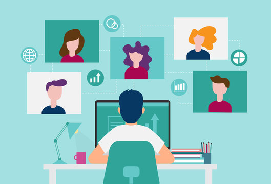 Smart working and video conference, online working with colleagues, vector illustration