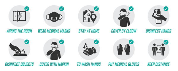 Preventive measures icons for not getting sick and not spreading virus Fotobehang