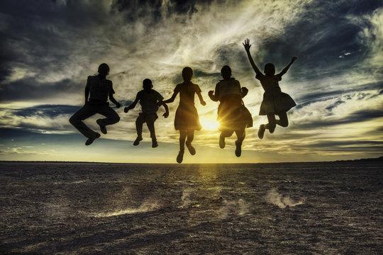 African children jumping