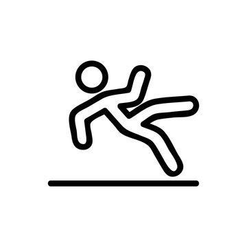 danger of slipping fall icon vector. danger of slipping fall sign. isolated contour symbol illustration