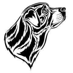 stylized rottweiler head in profile in black, logo, isolated object on a white background, vector illustration,