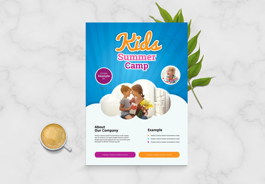 Kids Summer Camp Flyer Layout with Blue Accents