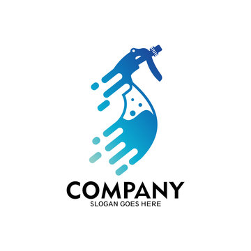 Fast cleaning service logo. Water spray bottle logo as a cleaning symbol
