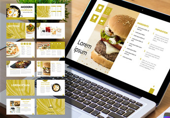 Digital Cookbook Layout with Green Textured Accents