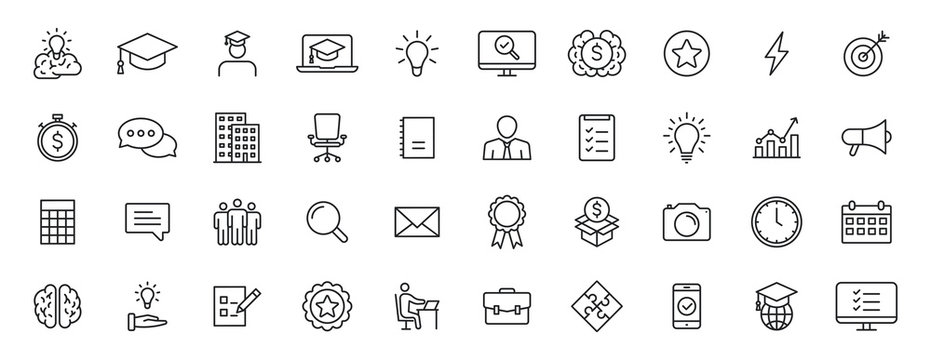 Set of 40 Education and Learning web icons in line style. School, university, textbook, learning. Vector illustration.