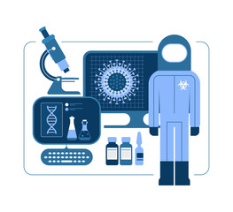 Monochrome blue design elements isolated on a white background. Research into drugs and vaccines to combat COVID-19 concept vector illustration. Man in hazmat suit, laboratory equipment.