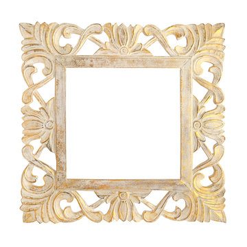 wooden square gold frame isolated on white background. Details of modern boho bohemian style eco design interior