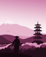 Photo sur Aluminium Rose clair / pale 2D Japonia - kraj kwitnącej wiśni. Dwóch samurajów szykujących się do walki