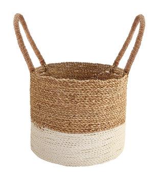 woven basket isolated on white . Details of boho style eco bohemian design interior