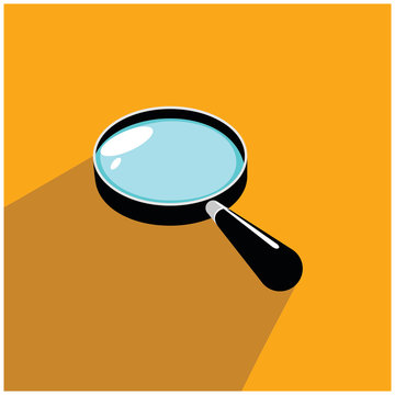 magnifying glass Magnifying glass round icon for search and zoom symbol, sign and magnifier logo. Modern magnifying glass vector