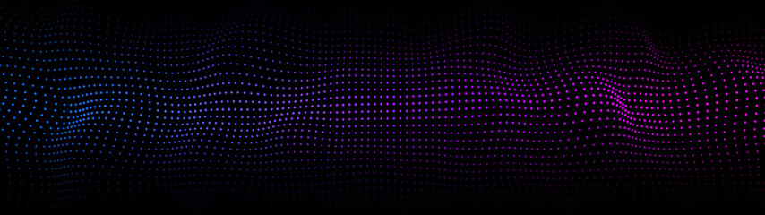 Abstract gradient dynamic wave of particles. Network of bright points or dots. Big data. Digital background. Vector Fotoväggar