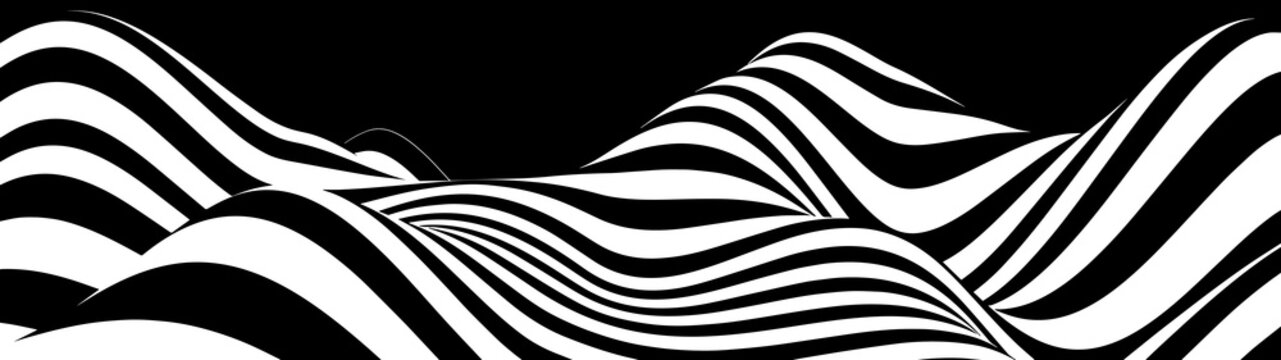 Abstract wave of white and black curved lines. Hallucination. Optical illusion. Twisted illustration. Futuristic background of lines. Dynamic wave. Vector.