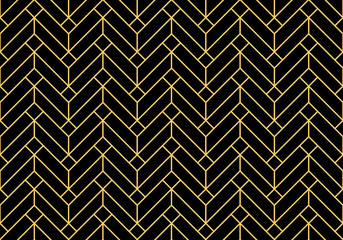 Fotorolgordijn Geometrisch Abstract geometric pattern. A seamless vector background. Gold and black ornament. Graphic modern pattern. Simple lattice graphic design