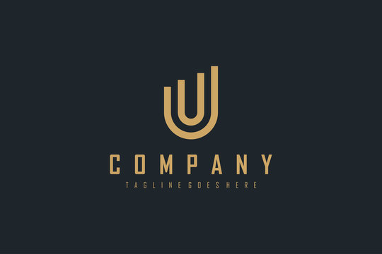 Abstract Initial Letter U Logo. Gold Geometric Linear Statistic Style isolated on Black Background. Usable for Business and Building Logos. Flat Vector Logo Design Template Element.