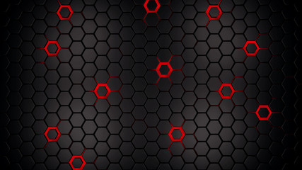 Wall Mural - dark hexagons with glowing red holes background, 3d render illustration