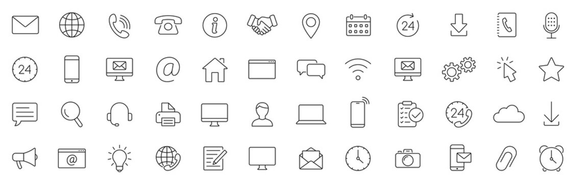 Contact thin line icons set. Basic contact icon. Vector