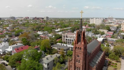 Wall Mural - Savannah, Georgia. Panoramic aerial view of the city in spring time