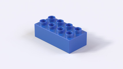 Plastic Blue Lego Block on a White Background, 3d render
