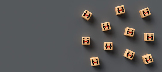 cubes with social distancing icons on gray background