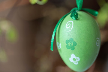 Green and white easter egg hanging on a spring branch.