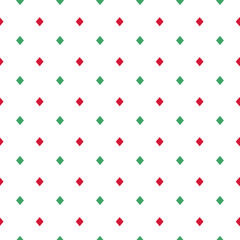 Rhombus seamless pattern. Geometric background. Green and red rhombuses on white background. Vector illustration.