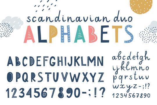 set of two vector scandinavian lettering alphabets
