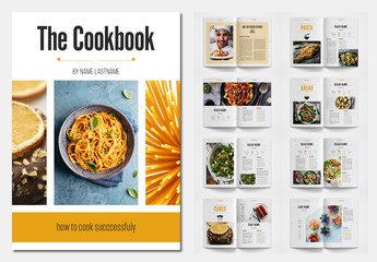 Cookbook Layout with Orange Accents