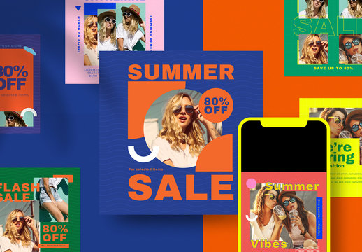 Summer Fashion Social Media Post Layout Set