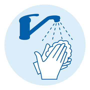 Washing hands with soap. Covid-19 prevention. Blue round icon illustration.