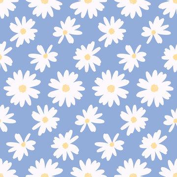 Simple daisy flower background pattern vector. Minimalist floral seamless illustration.