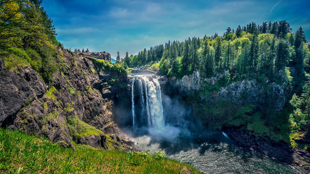 Snoqualmie Falls near Bellevue, Washington, United States shot during the middle of the day.