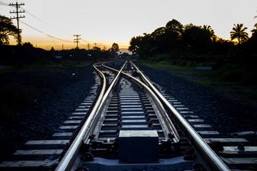 Spoed Fotobehang Spoorlijn Railroad Tracks