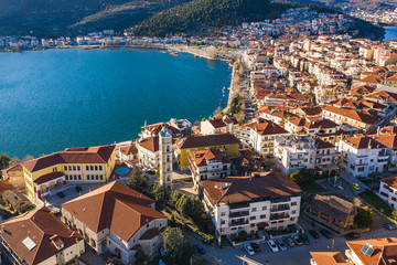 Aerial view the city of Kastoria and Lake Orestiada in northern Greek