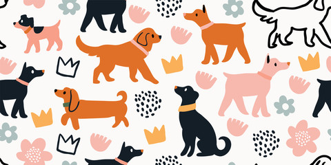 seamless pattern with cute dogs isolated on white