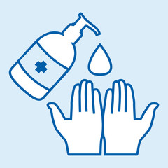 Washing hands with alcohol gel or antibacterial soap sanitizer against covid-19 pandemic pictogram. Blue vector icon.