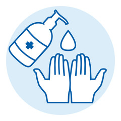 Washing hands with alcohol gel or antibacterial soap sanitizer against covid-19 pandemic pictogram. Blue round vector icon.