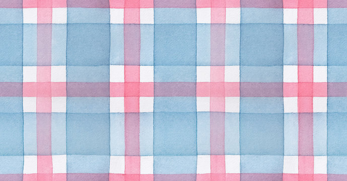 Repeatable seamless pattern of blue and pink checkered motive. Hand painted watercolour graphic drawing on white. Beautiful tender background for creative design, scrapbook, wrapping paper, package.