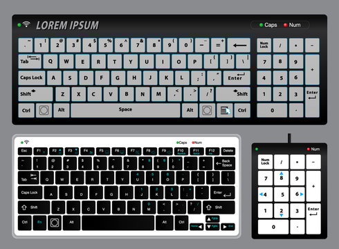 set of realistic keyboard pc or keyboard pad notebook or Realistic keyboard   with alphabet concept. eps 10 vector, easy to modify