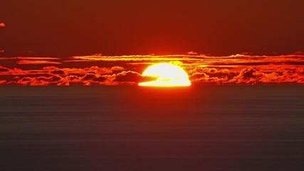 Fototapete - beauty landscape with sunset over sea, 4k