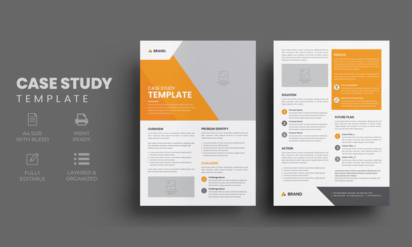 Creative case study template   Business case study booklet with orange element and 2 page flyer