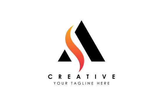 Creative A Letter Logo Design with Swoosh Icon Vector Illustration.