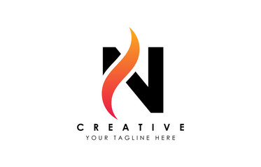 Creative N Letter Logo Design with Swoosh Icon Vector Illustration.
