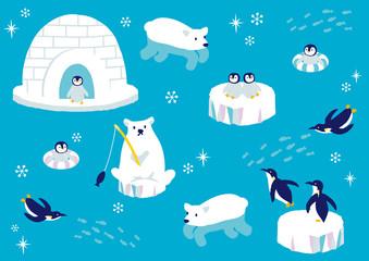 南極の動物たち イラスト Wall mural