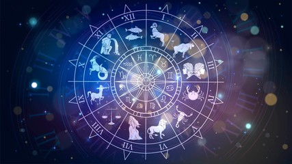 Obraz Zodiac signs revolve around the moon in space, astrology and horoscope - fototapety do salonu