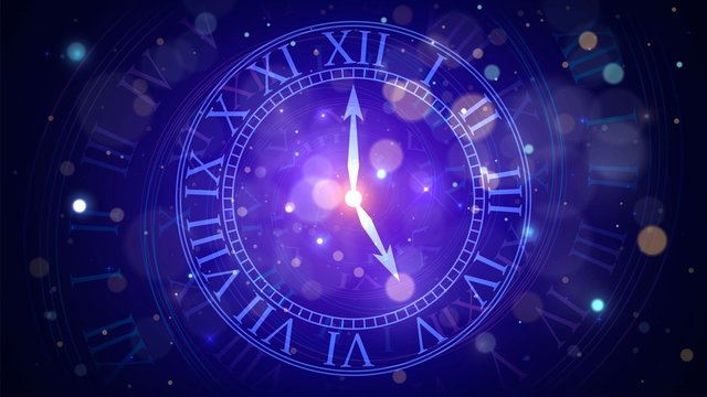 Magic clock in space, concept of time or numerology