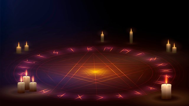 A star in a circle on the floor with candles, a magic ritual of summoning a demon from the pentagram