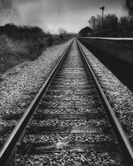 Spoed Fotobehang Spoorlijn High Angle View Of Railroad Track