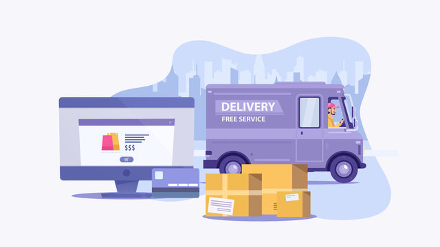 Flat cartoon purple delivery van vehicle with driver or courier and laptop or PC on background with city. Free delivery online shopping concept. Element for some quarantine banner. Vector illustration
